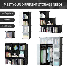 Load image into Gallery viewer, Storage honey home modular plastic storage cube closet organizers portable diy wardrobes cabinet shelving with doors for bedroom office 16 cubes black white