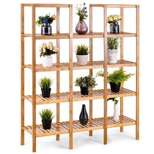 Home costway bamboo utility shelf bathroom rack plant display stand 5 tier storage organizer rack cube w several cell closet storage cabinet 12 pots