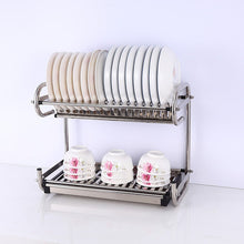 Load image into Gallery viewer, Purchase 2 tier kitchen cabinet dish rack 19 3 wall mounted stainless steel dish rack steel dishes drying rack plates organizer rubber leg protector with drain board