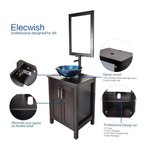 The best elecwish usba20090 usba20077 bathroom vanity and sink combo stand cabinet and tempered blue glass vessel sink orb faucet and pop up drain mirror mounting ring