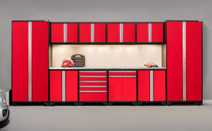 Storage newage products 52354 pro 3 0 cabinetry set with stainless steel worktop red