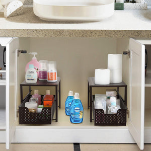 Buy now simple trending under sink cabinet organizer with sliding storage drawer desktop organizer for kitchen bathroom office stackbale bronze