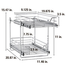 Load image into Gallery viewer, Storage organizer household essentials c21221 1 glidez 2 tier sliding cabinet organizer 11 5 wide chrome
