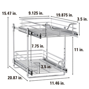 Storage organizer household essentials c21221 1 glidez 2 tier sliding cabinet organizer 11 5 wide chrome