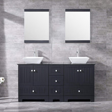 Load image into Gallery viewer, Organize with sliverylake 60 bathroom vanity and sink combo bathroom cabinet black countertop sink bowl w mirror set ceramic vessel black trapeziform