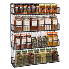 Load image into Gallery viewer, Top bbbuy 4 tier spice rack organizer wall mounted country rustic chicken holder large cabinet or wall mounted wire pantry storage rack great for storing spices household stuffs