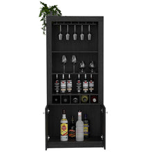 Load image into Gallery viewer, Best seller  tuhome montenegro collection bar cabinet home bar comes with a 5 bottle wine rack storage cabinets 3 shelves and a 15 wine glass rack with a modern dark weathered oak finish