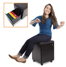 Load image into Gallery viewer, Results stand steady vert rolling file cabinet 2 drawer mobile file cabinet with cushion top small filing cabinet delivers convenient storage key lock and an extra place to sit black