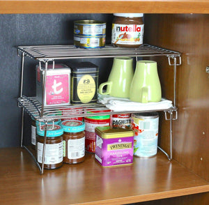 Heavy duty 2 pack decobros stackable kitchen cabinet organizer chrome