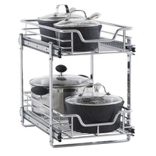Load image into Gallery viewer, Try household essentials c21221 1 glidez 2 tier sliding cabinet organizer 11 5 wide chrome