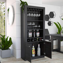 Load image into Gallery viewer, Buy tuhome montenegro collection bar cabinet home bar comes with a 5 bottle wine rack storage cabinets 3 shelves and a 15 wine glass rack with a modern dark weathered oak finish