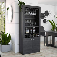 Load image into Gallery viewer, Amazon best tuhome montenegro collection bar cabinet home bar comes with a 5 bottle wine rack storage cabinets 3 shelves and a 15 wine glass rack with a modern dark weathered oak finish