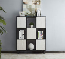 Load image into Gallery viewer, Discover mixcept wooden bookcase 47 high storage cabinet with 4 solid wood legs display shelf with 8 compartments 3 tier bookshelf for home office black white