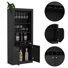Load image into Gallery viewer, Budget friendly tuhome montenegro collection bar cabinet home bar comes with a 5 bottle wine rack storage cabinets 3 shelves and a 15 wine glass rack with a modern dark weathered oak finish