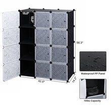 Load image into Gallery viewer, New songmics cube storage organizer 12 cube closet storage shelves diy plastic closet cabinet modular bookcase storage shelving with doors for bedroom living room office black ulpc34h