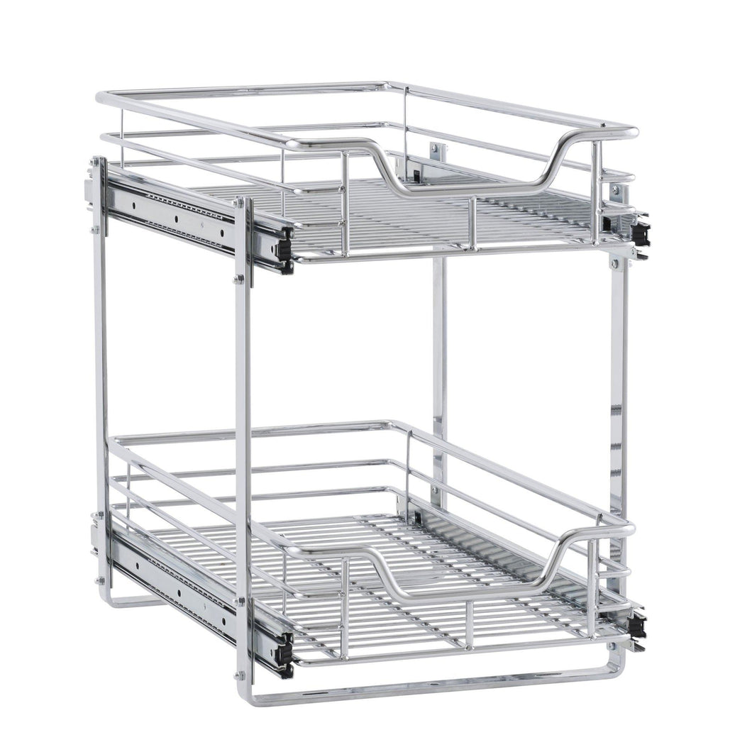 Storage household essentials c21221 1 glidez 2 tier sliding cabinet organizer 11 5 wide chrome