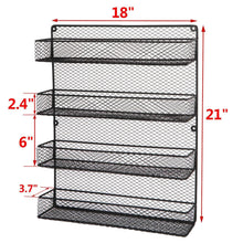 Load image into Gallery viewer, Amazon bbbuy 4 tier spice rack organizer wall mounted country rustic chicken holder large cabinet or wall mounted wire pantry storage rack great for storing spices household stuffs
