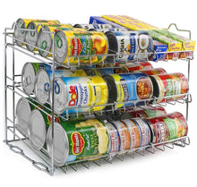 Load image into Gallery viewer, On amazon sorbus can organizer rack 3 tier stackable can tracker pantry cabinet organizer holds up to 36 cans great storage for canned foods drinks and more in kitchen cupboard pantry