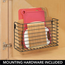Load image into Gallery viewer, Discover mdesign metal over cabinet kitchen storage organizer holder or basket hang over cabinet doors in kitchen pantry holds bakeware cookbook cleaning supplies 2 pack steel wire in bronze