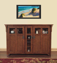 Load image into Gallery viewer, Featured touchstone 70062 bungalow tv lift cabinet chestnut oak up to 60 inch tvs diagonal 55 in wide mission style motorized tv cabinet pop up tv cabinet with memory feature ir rf 12v trigger