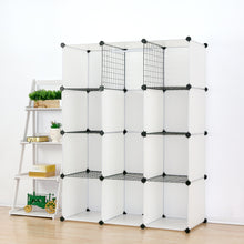 Load image into Gallery viewer, Save on unicoo multi use diy plastic 12 cube organizer toy organizer bookcase storage cabinet wardrobe closet white with door sticker deeper cube white