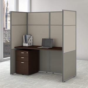 Selection bush business furniture eodh26smr 03k easy office cubicle desk with file cabinet and 66h closed panels workstation 60wx60h mocha cherry