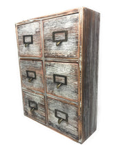 Load image into Gallery viewer, Top farmhouse decor desk organizer storage cabinet bathroom home shelves kitchen living room bedroom furniture apothecary drawers rustic wood distressed finish