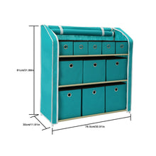 Load image into Gallery viewer, Online shopping homebi multi bin storage shelf 11 drawers storage chest linen organizer closet cabinet with zipper covered foldable fabric bins and sturdy metal shelf frame in turquoise 31w x12 dx32h