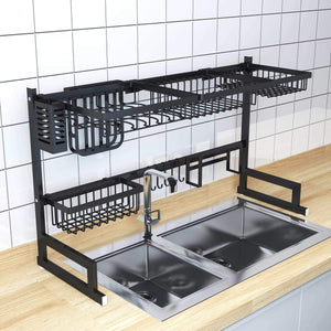 On amazon over sink dish drying rack kitchen organizer and dish drainer with 7 interchangeable racks and caddies plus bonus wine glass rack that mounts to cabinetry
