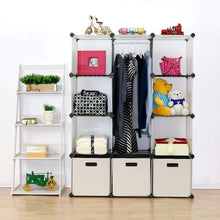 Load image into Gallery viewer, Selection unicoo multi use diy plastic 12 cube organizer toy organizer bookcase storage cabinet wardrobe closet white with door sticker deeper cube white
