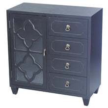 Load image into Gallery viewer, Discover the heather ann creations 4 drawer wooden accent chest and cabinet clover pattern grille with glass backing 30 75h x 29 5w black