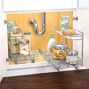 Discover lynk professional professional sink cabinet organizer with pull out out two tier sliding shelf 11 5w x 21d x 14h inch chrome