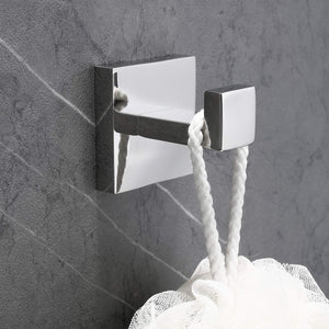 Best seller  nolimas bath towel hook sus 304 stainless steel square clothes towel coat robe hook cabinet closet door sponges hanger for bath kitchen garage heavy duty wall mounted chrome polished finish 2pack