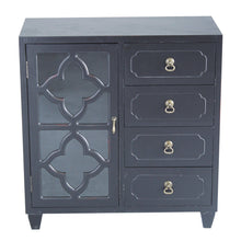 Load image into Gallery viewer, Cheap heather ann creations 4 drawer wooden accent chest and cabinet clover pattern grille with glass backing 30 75h x 29 5w black