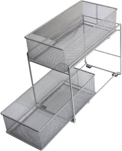 Load image into Gallery viewer, Explore ybm home silver 2 tier mesh sliding spice and sauces basket cabinet organizer drawer 2304
