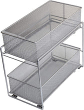 Load image into Gallery viewer, Featured ybm home silver 2 tier mesh sliding spice and sauces basket cabinet organizer drawer 2304