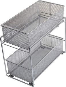 Featured ybm home silver 2 tier mesh sliding spice and sauces basket cabinet organizer drawer 2304
