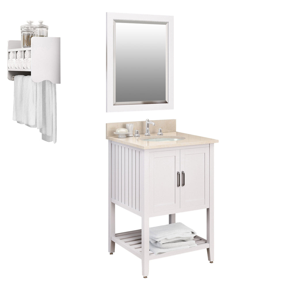 Adelino White Bath Vanity Set with Shelf/Mirror