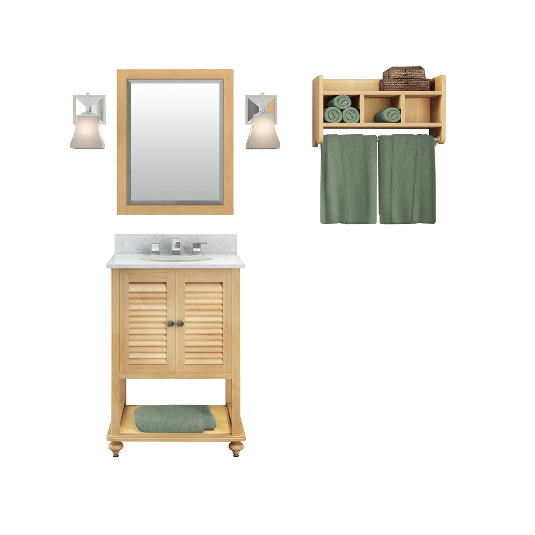 Gallina Natural Bath Vanity Set with Shelf/Mirror