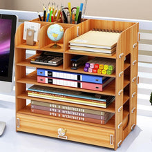 Load image into Gallery viewer, Actionclub DIY Desktop Storage Box Documents Books Storage Shelf Multi-layer Finishing Rack Desktop Book Shelf Office Supplies