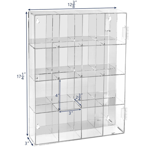 #COTM4016 Acrylic Display Rack Organizer Storage Box Dustproof for Funko Pop with Mirrored Back & 16 Compartments