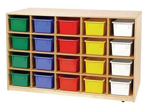 Mobile Cubbie 20-Tray Storage Cabinet with Assorted Color Trays