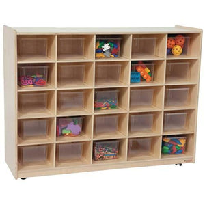 Mobile Cubbie 25-Tray Storage Cabinet with Translucent Trays