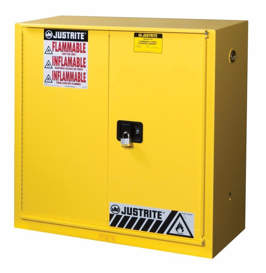 Justrite  40 Gallon Red Sure-Grip  EX 18 Gauge Cold Rolled Steel Safety Cabinet With (2) Self-Closing Doors And (3) Shelves (For Combustibles)