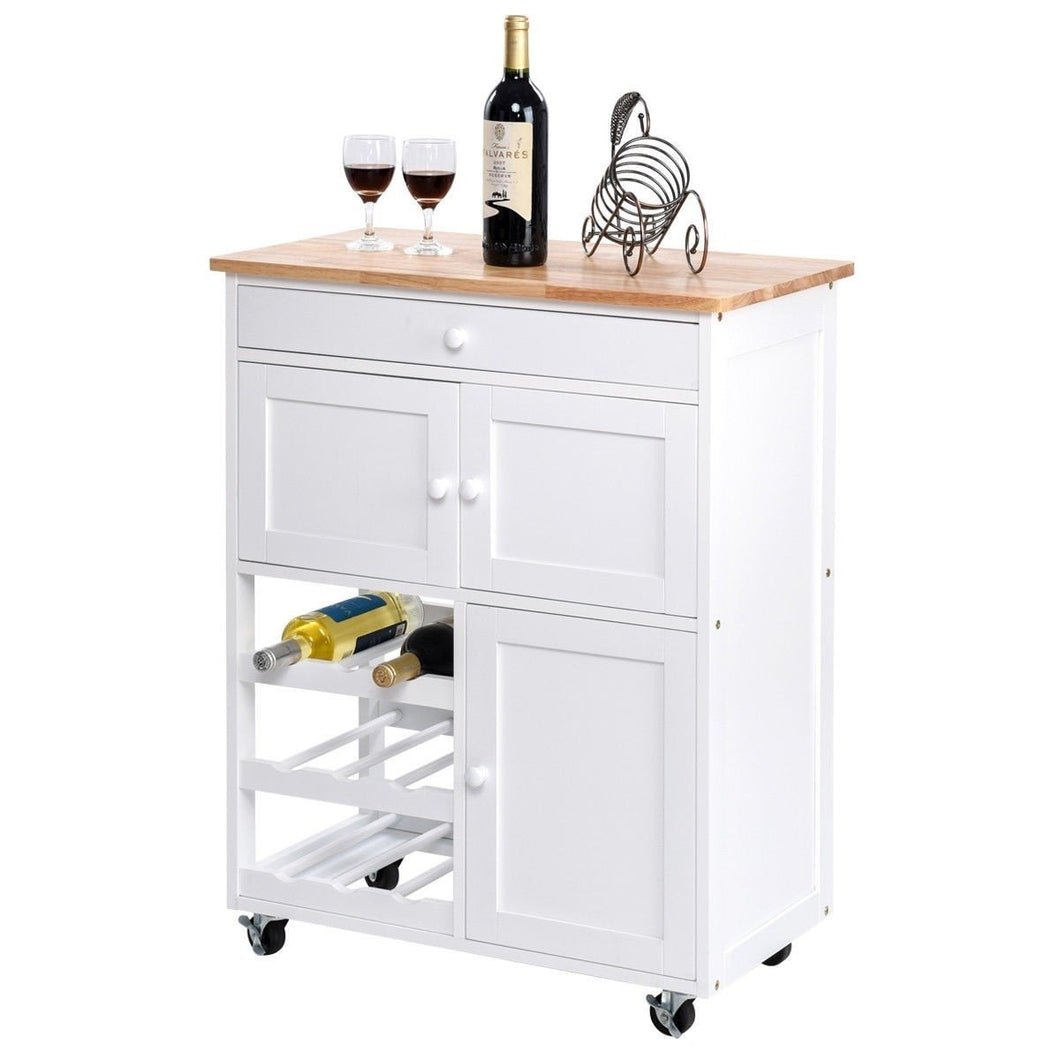 Mobile Kitchen Island Cart Cabinet with Wine Rack in White