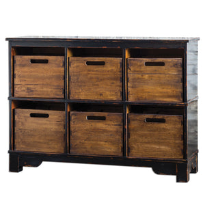 Ardusin Rustic Hobby Storage Cabinet with Six Drawers