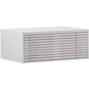 "10-Drawer Flat File, 46-3/4""W x 35-3/8""D x 16-1/8""H, Dove Gray"