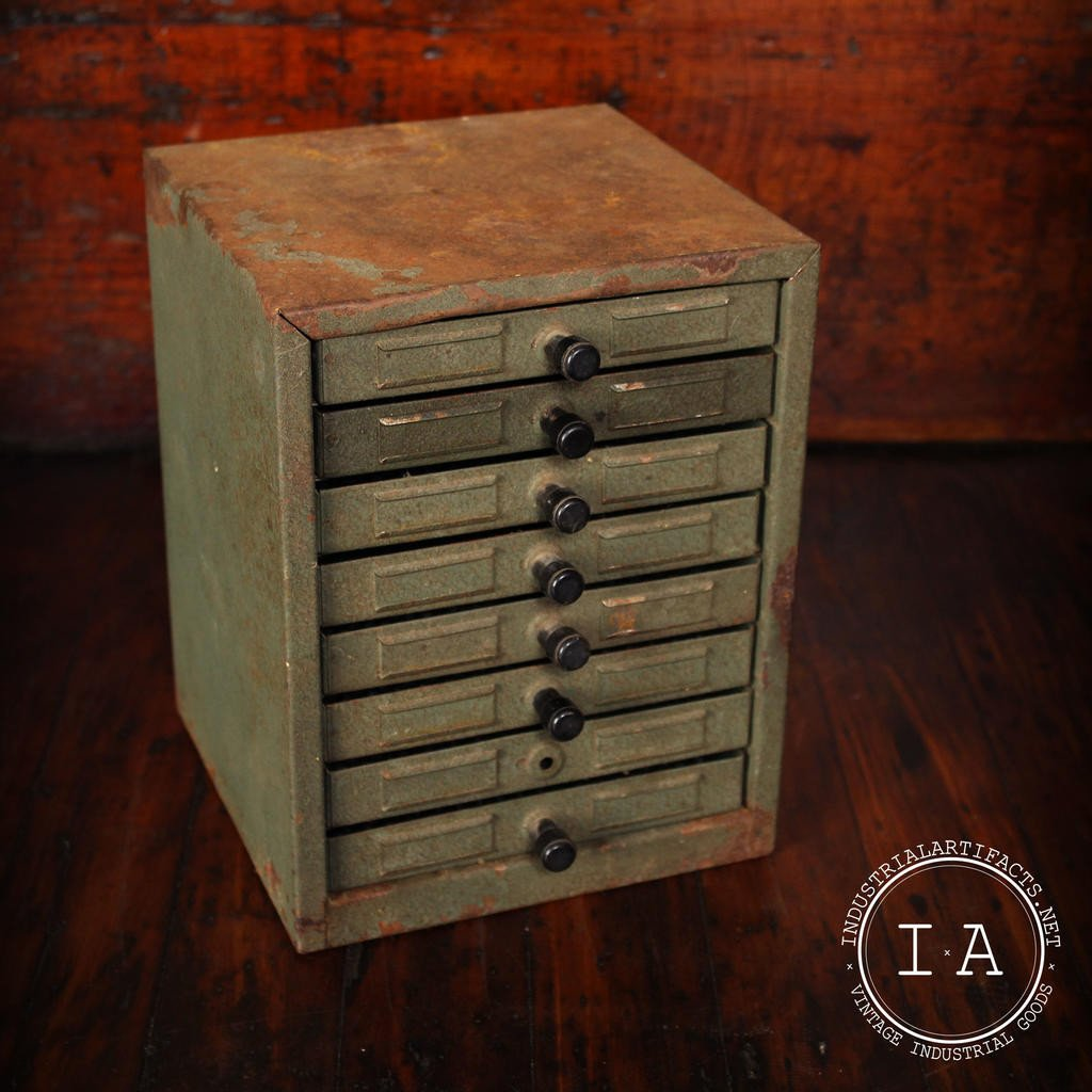 Vintage Industrial 8 Drawer Small Parts Storage Cabinet