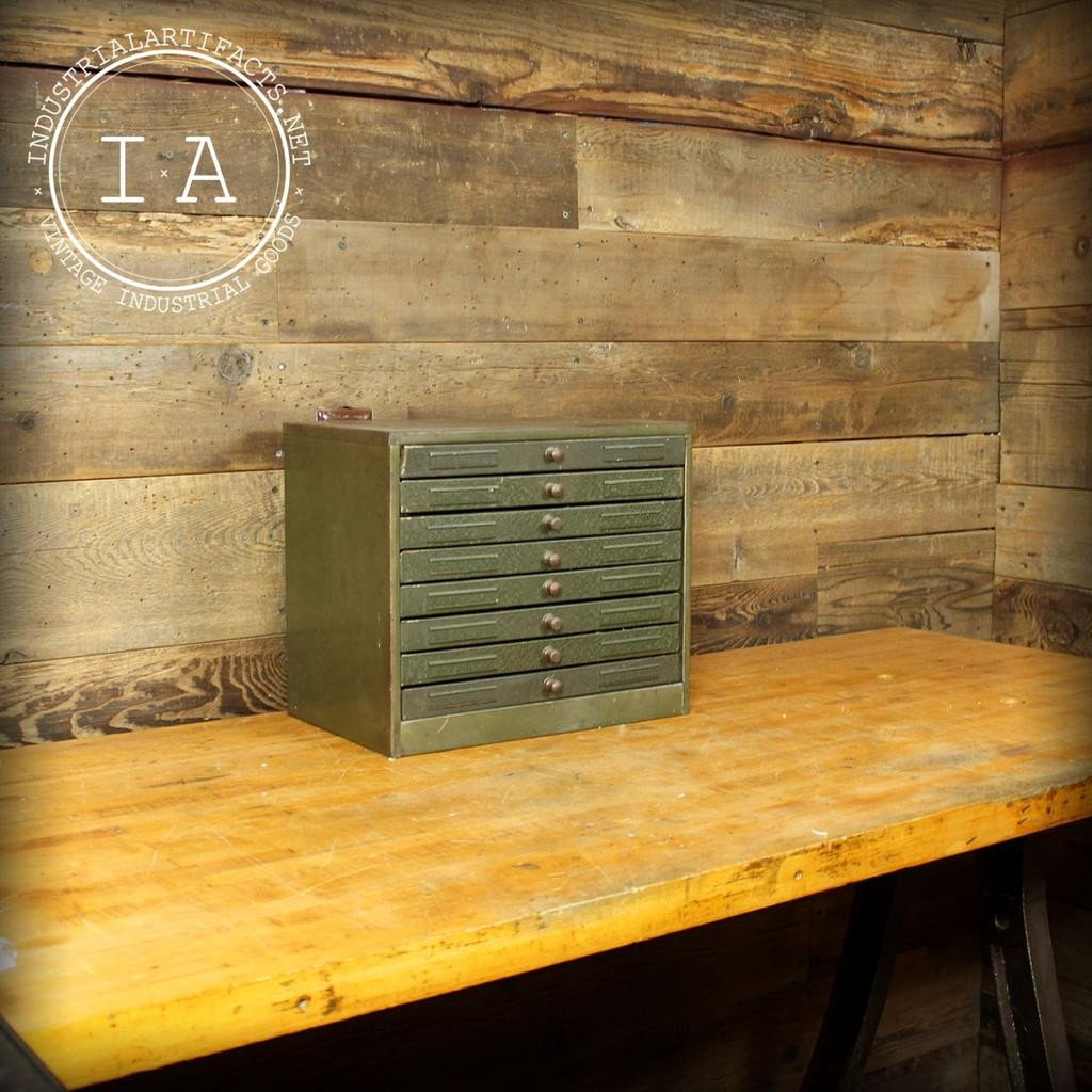 Vintage Industrial Green Steel 8 Drawer Tool and Parts Storage Cabinet