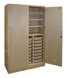 Hann TT4 Tote Tray Storage Cabinet with Adjustable Shelves - 24 Trays